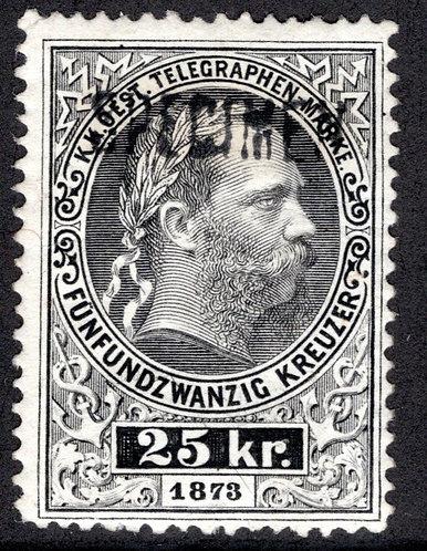 Telegraph - 25kr, H17c, 1873-1874, p.12, MHOG, Specimen, Line Engraved, Austria