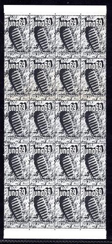 Scott C353, Mexico, Air Post, Block of 20, MNHOG, 1969, 2P,Luna 69. 200dpi scan