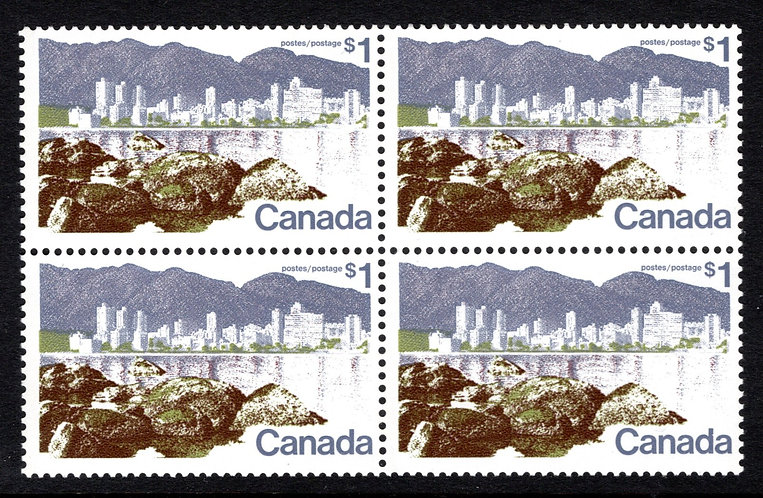 599, Scott, $1, DF, MNHOG, VF, Block of 4, 1972-1977 Landscape Definitives