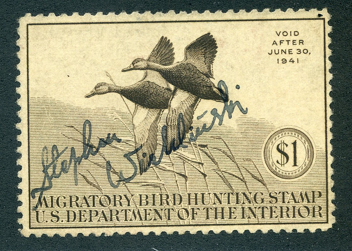 RW7 1940 US Department of the Interior - Black Mallards - $1 Used Duck Hunting