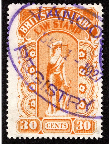 BCL24, 30c, orange, used, British Columbia Law Revenue Stamp, fifth series