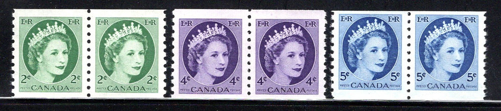 Scott 345-348, coil pair set (346 not assigned), MNHOG, QEII Wilding, Canada