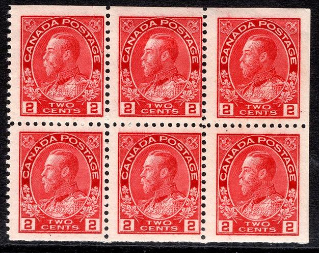 "106a, Scott, booklet pane of 6 x 2c carmine,""Admirals"", F/VF,Canada Postage St"