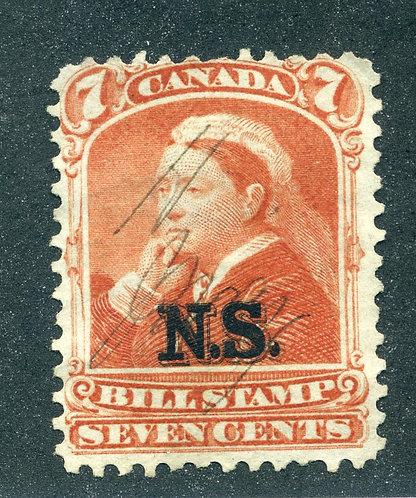 van Dam NSB8 - Nova Scotia Bill Stamp - 7c - Used - CARIS ID: CAB60 - clean rev