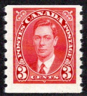 240, Scott, Canada, 3c, KGVI Coil, MLHOG, F, Postage Stamp