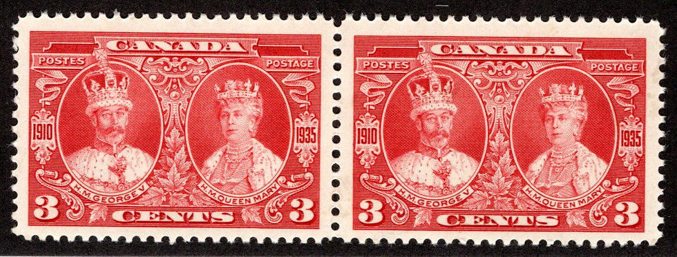 213, Scott, 3c, KGV and Queen Mary,MNHOG, horiz. pair, Canada Postage Stamp