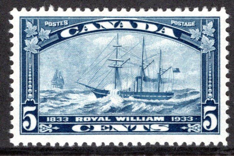 204, 5c Royal William, MLHOG, EF, Canada Postage Stamp