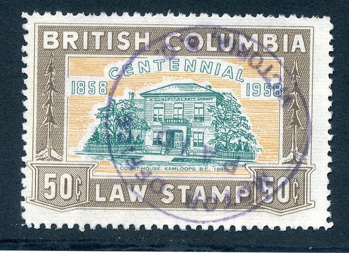 van Dam BCL48, 1958 British Columbia Law Stamp - Used