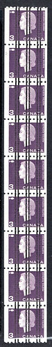 407xx, Scott, 3c, MNHOG, VF,Strip of 9, Cameo Issue Coil Stamps, folded once, Ca