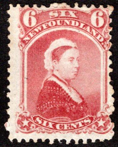 38, NSSC, Newfoundland, 6¢ Queen Victoria, MHOG, VG/F