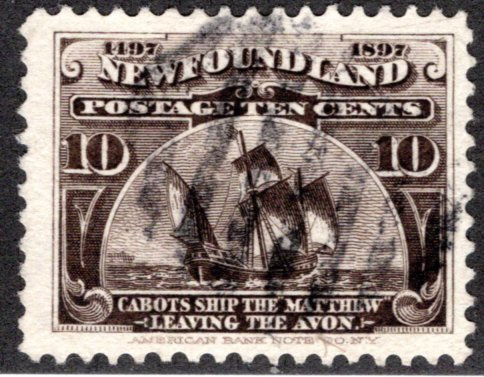 "68, Scott, Newfoundland, 10c, black brown, Cabot's Ship ""Matthew"", Used, F/VF"