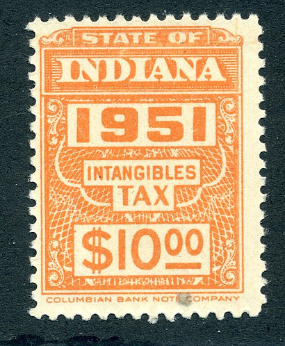 SRS IND163- $10 - MNH - Indiana Intangibles Tax - 1951