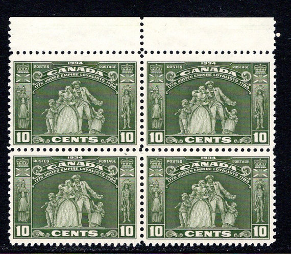 209 Scott, 10c Canada, MNHOG, Loyalists Statue, EF, Block of 4