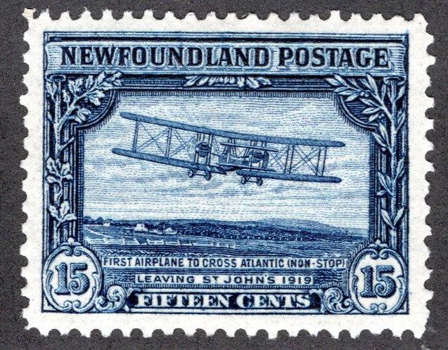 148, NSSC, Newfoundland, 15¢ First TransAtlantic Flight, re-entry in lower right