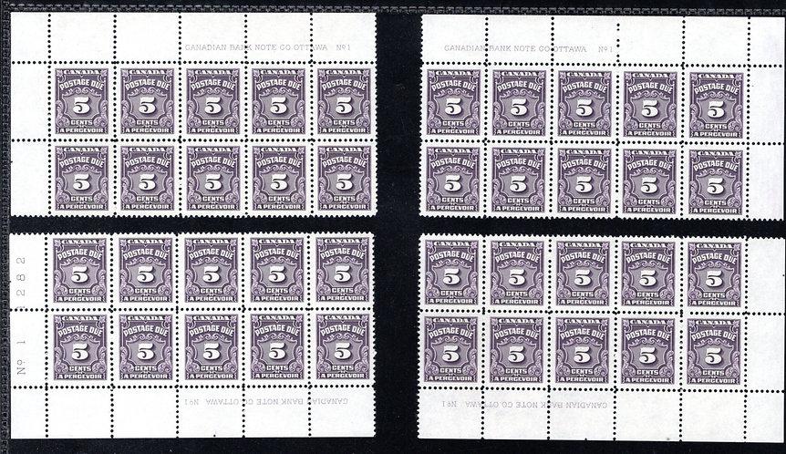 J18, Scott, 5c, VF, matched plate block of 10 set, P1, 4th issue, MNHOG