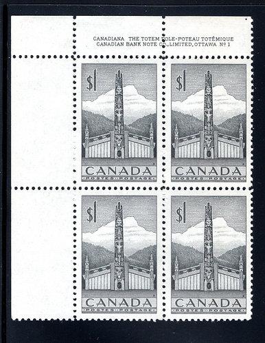 Scott 321, $1 grey, Plate Block 1, UL, MNHOG, VF, Canada Postage Stamp