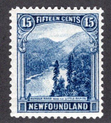 134, NSSC, Newfoundland, 15c, deep blue, Little Rapids, MHOG, F/VF