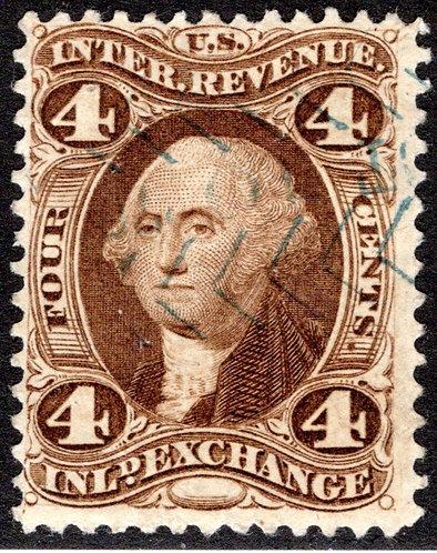 R20d, USA Revenue Stamp, 4c, SILK, Inland Exchange, F, cut cancel, 1863
