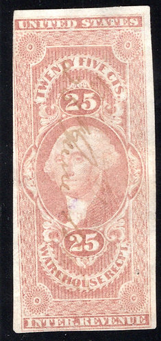 R50a, 25c Warehouse Receipt, red, imperf - F - ms cancel