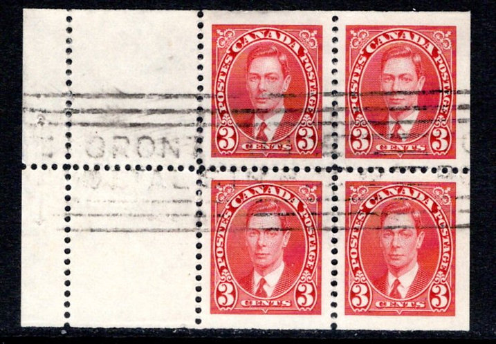 Scott 233a, 3c, KGVI Mufti Issue, booklet pane of 4 x 3c + 2 labels, MNHOG, VF