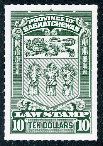 van Dam SL76 - CARIS SKL76 - $10- MNH- SaskLaw Stamp - 1968 roulettedGorgeou