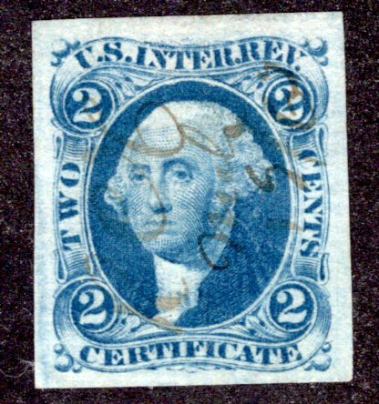 R7a - 2c - Certificate Revenue- Blue - imperf - used - ms cancel - XF