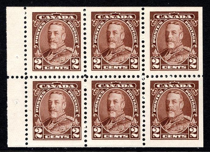 Scott 218b, 2c, King George VI PictorialIssue, booklet pane of 6 x 2c, MNHOG, V