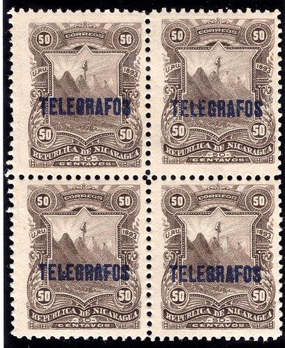 RH#32,H32, Type 6 - 50c sepia - MNHOG - block - Nicaragua Telegraph Revenue