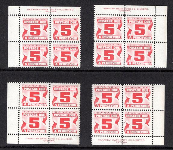 J25, Scott, 5c, VF, matched plate block of 4,1st Centennial issue, MNHOG