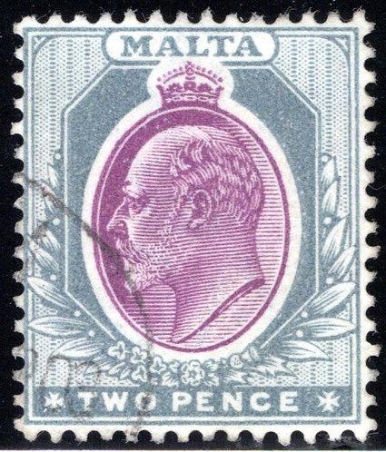 23 Malta, 2p gray & red vio, wmk. 2, p.14, used, F