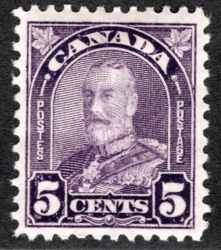 """169, Scott, 5c dull violet, MHOG, VF, KGV """"Arch/Leaf"""" Issue,Canada Postage Stam"""