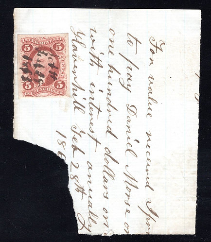R27a on partial promissory note piece, cancelled in 1863.