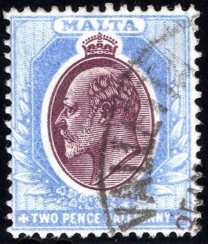 24 Malta, 2½p, ultra & brown vio, wmk. 2, p.14, used, F