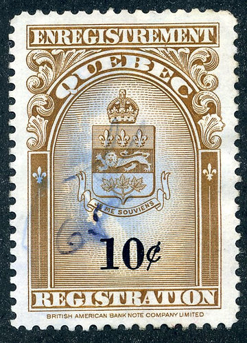 van Dam QR30 - Used - 10c brown & Black - Quebec 1962 Coat of Arms Issue - Quebe