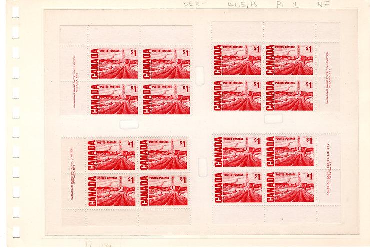 465Bi Scott - $1 carmine rose, Matched Plate Block Set, NF, DEX