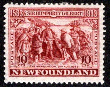 203, NSSC, Newfoundland, 10¢ Annexation, red brown, MHOG, VG/F,Scott 220