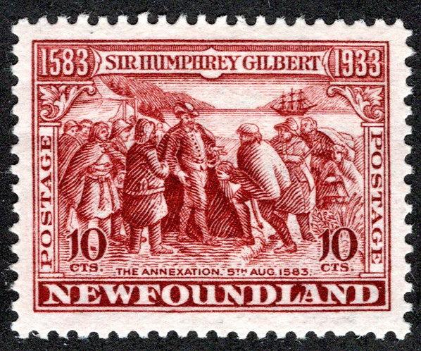 203, NSSC, Newfoundland, 10¢ Annexation, red brown, MLHOG, VF