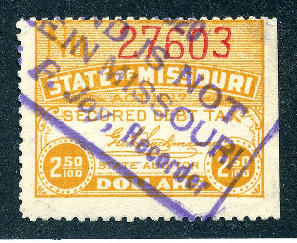 MO SCD10, Missouri Secured Debt Tax - $2.50 - used - handstamped