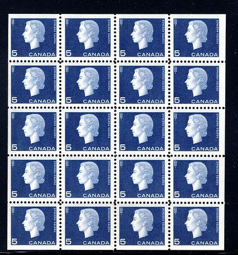 405b Scott, 5c violet blue, VF, QEII Cameo Issue, Miniature Pane of 20 (4x5), MN