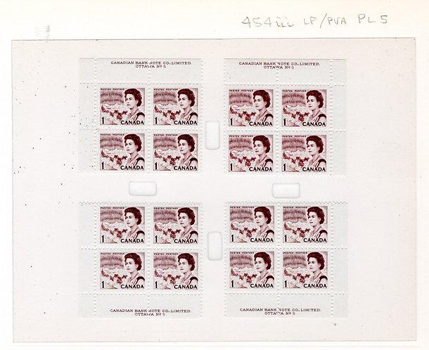 454iii Scott, Centennial Definitive, Matched Plate Blocks, PB5, LF/PVA
