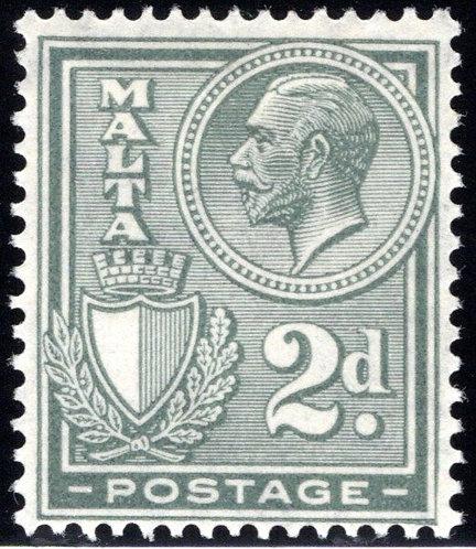 135 Malta, King George, 2p, gry, MHOG,F/VF