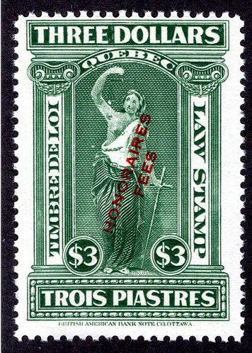 "van Dam QL84 - $3 Green - MNH - Quebec 1923 ""Honoraires-Fees"""