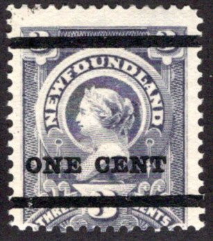 66b, NSSC, ONE CENT (black) on 3 cent, gray; Type A; 18 mm bar spacing, Newfound