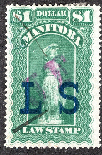 """ML81 - Manitoba Law - $1 """"JF on LS"""" Green, Used Revenue Stamp"""