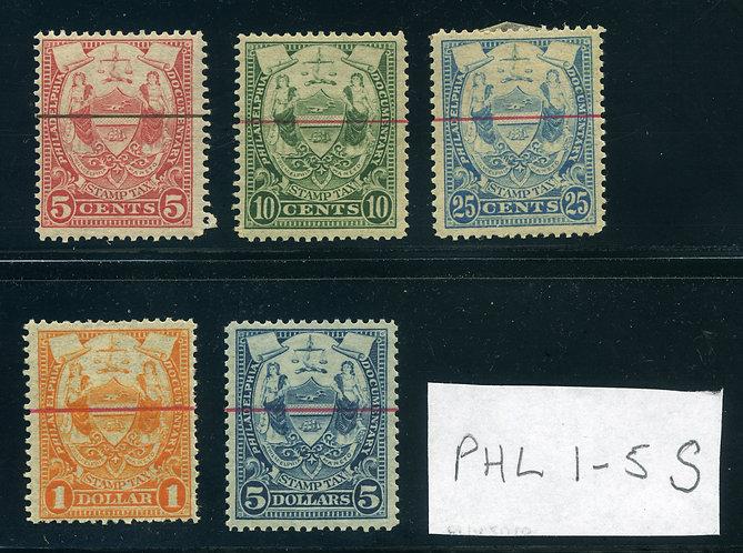 PHL1-5S - Philadelphia Documentary Stamp Tax SPECIMEN Revenues