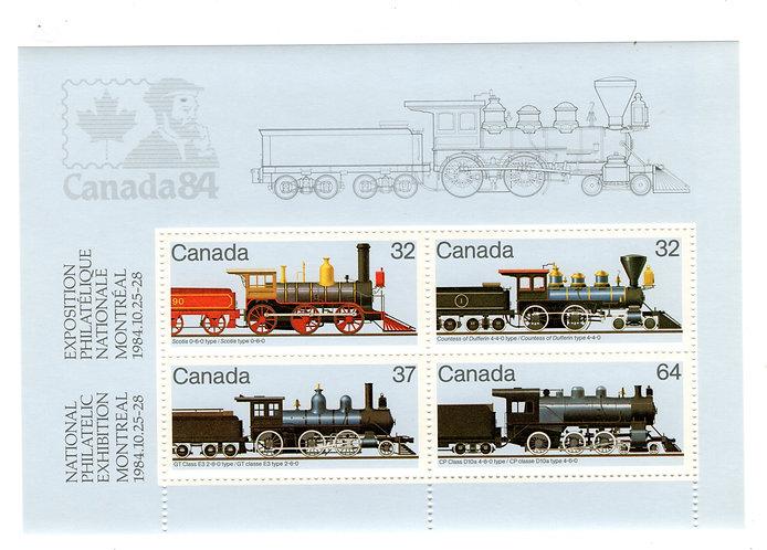1039aScott - 1984 Canadian Locomotives Souvenir Sheet, MNHOG, Canada Postal Sta