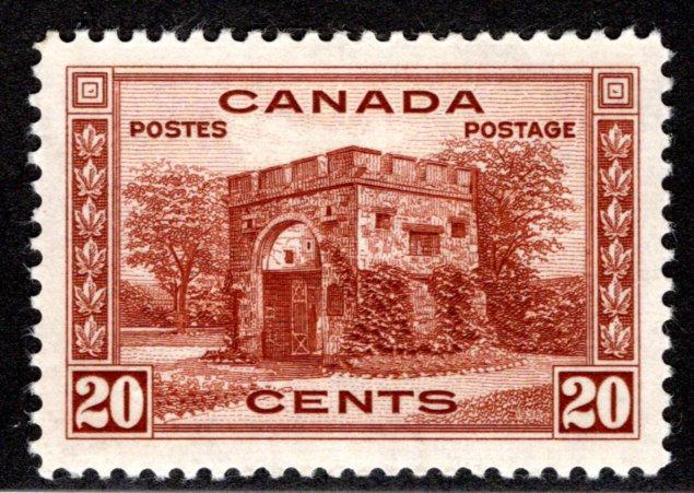 243 Scott - 20c dull violet, VF/XF, MLHOG, Fort Garry, Canada Postage Stamp