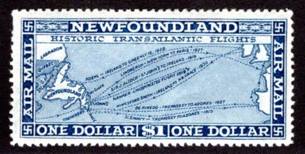 AM12, NSSC, Newfoundland, 1931, $1, Air Mail, F/VF, MLHOG, watermarked