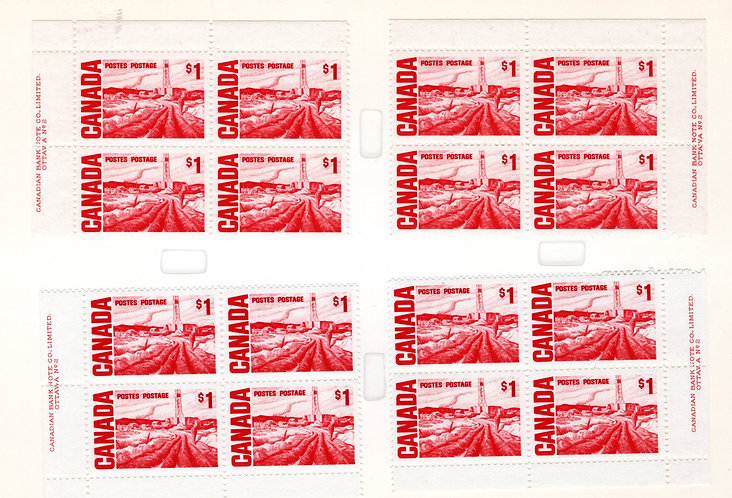 465Biv Scott, $1, Centennial Definitive, MF/PVA, Matched Plate Blocks, PB2,