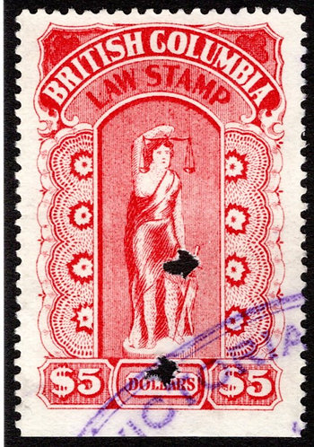 van Dam BCL27 - $5 Crimson-British Columbia Law Revenue Stamp - 1912-1926 Fift
